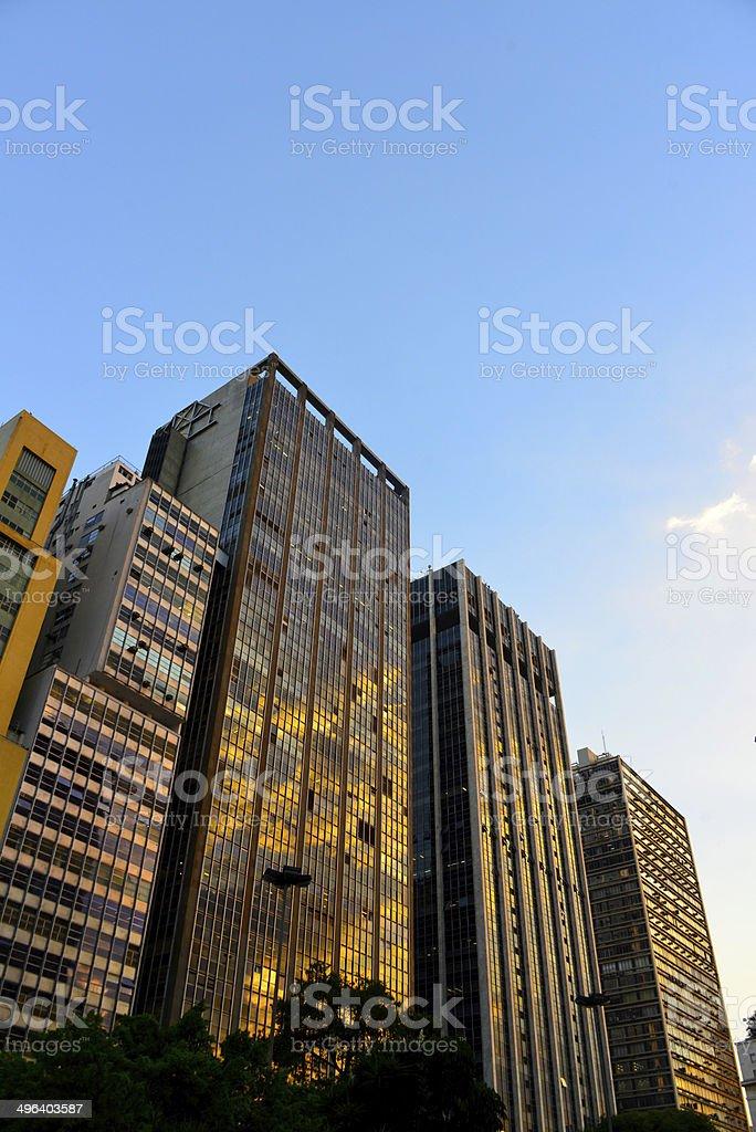 São Paulo, Brazil: skyscrapers at sunset stock photo