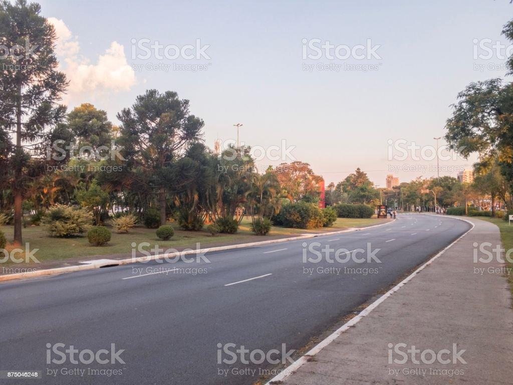 São Paulo Stadtbild mit einer ruhigen Straße in einer Grünanlage – Foto