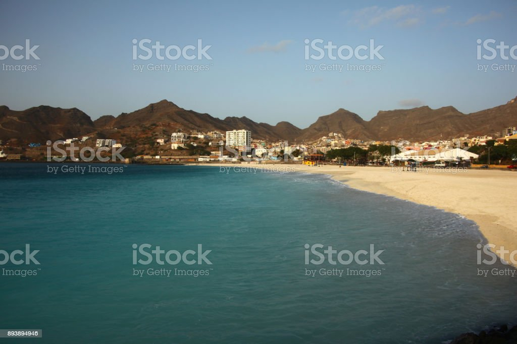 São Pedro Beach, Mindelo on Sao Vicente Island, Cape Verde Islands, Atlantic. stock photo