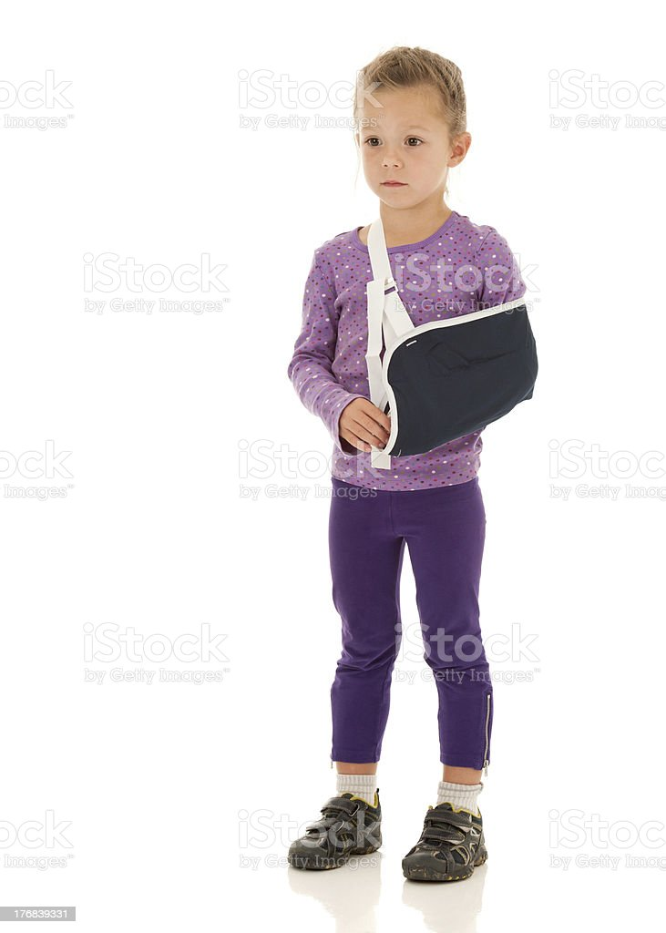 So Sad: Little Girl Has Just Broken Arm, in Splint stock photo