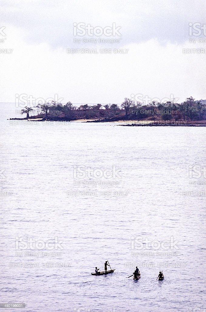 São Tomé and Principé, São Tomé, fishermen in canoes. royalty-free stock photo