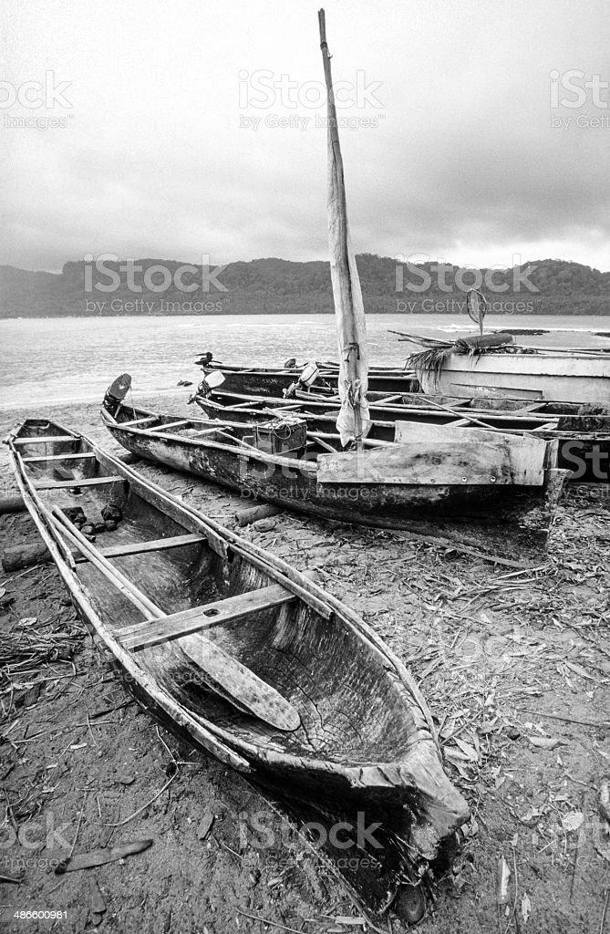 São Tomé and Principé, São Tomé, fishing canoes. stock photo