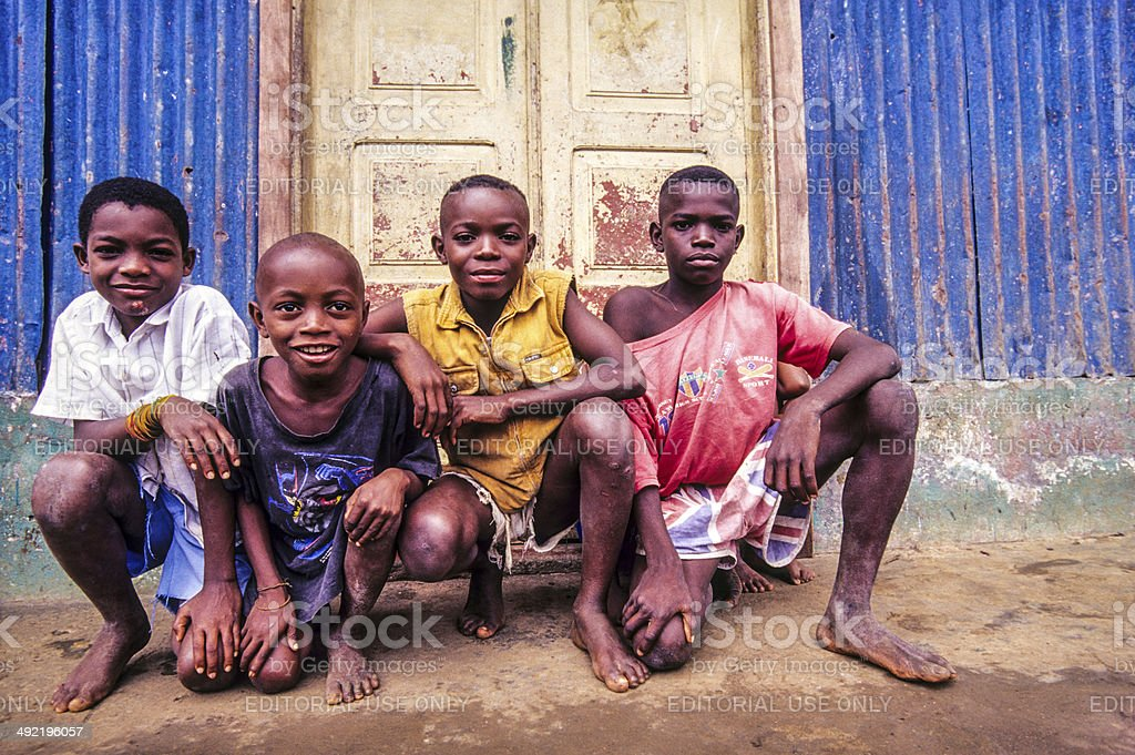São Tomé and Principé, São Tomé, local boys. stock photo