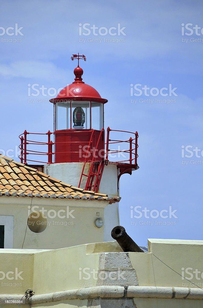 São Tomé: lighthouse and Portuguese cannon stock photo