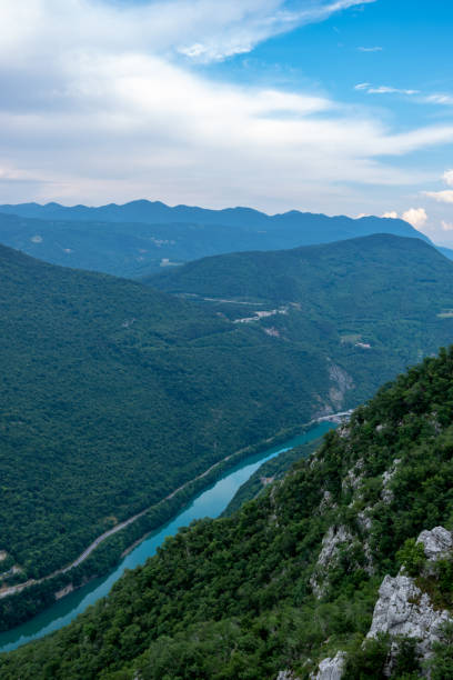 Soča River in the Julian Alps stock photo