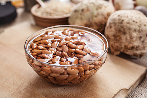 soaked bean in glass bowl - drenched stock pictures, royalty-free photos & images
