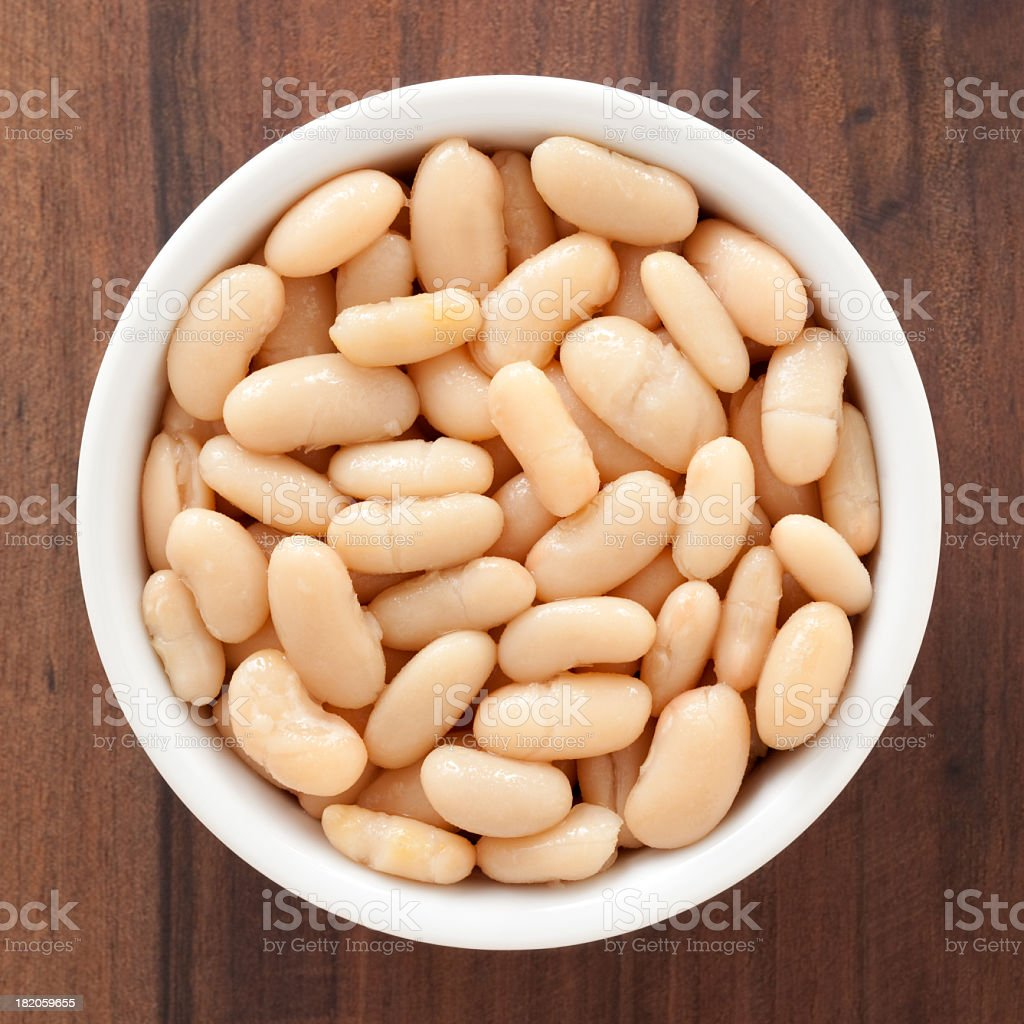Soaked white beans stock photo