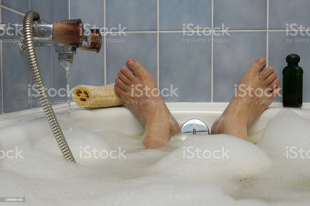 Soaking in a  Nice Hot Bath stock photo