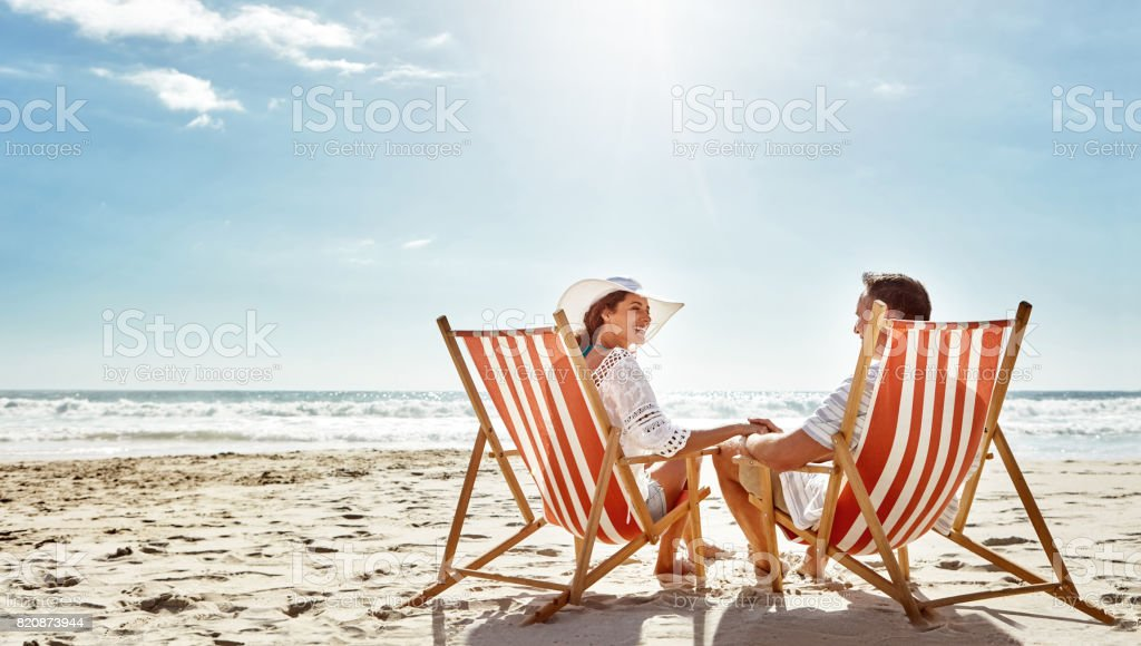 Soaking up some good times together stock photo