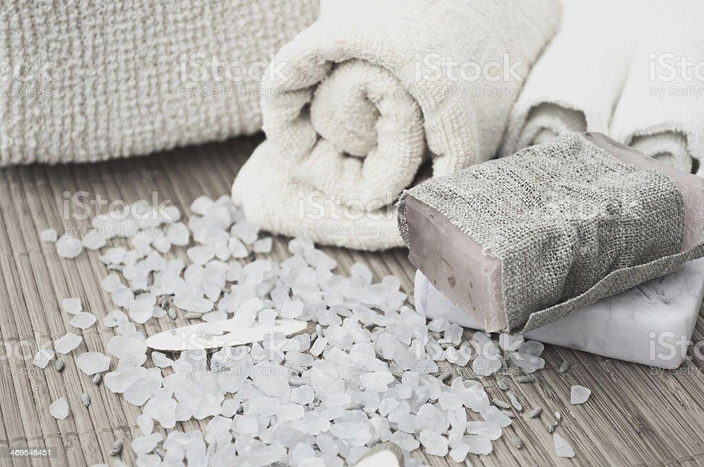 Soap and bath salt stock photo