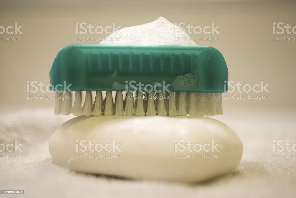 Soap and brush nail cleaner royalty-free stock photo