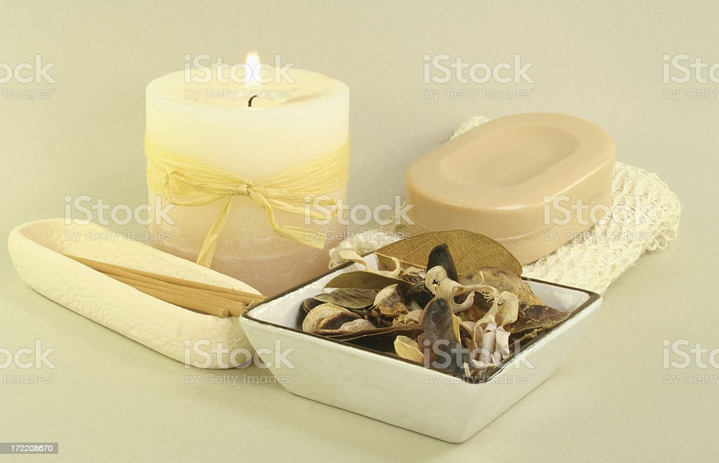 soap and candle royalty-free stock photo