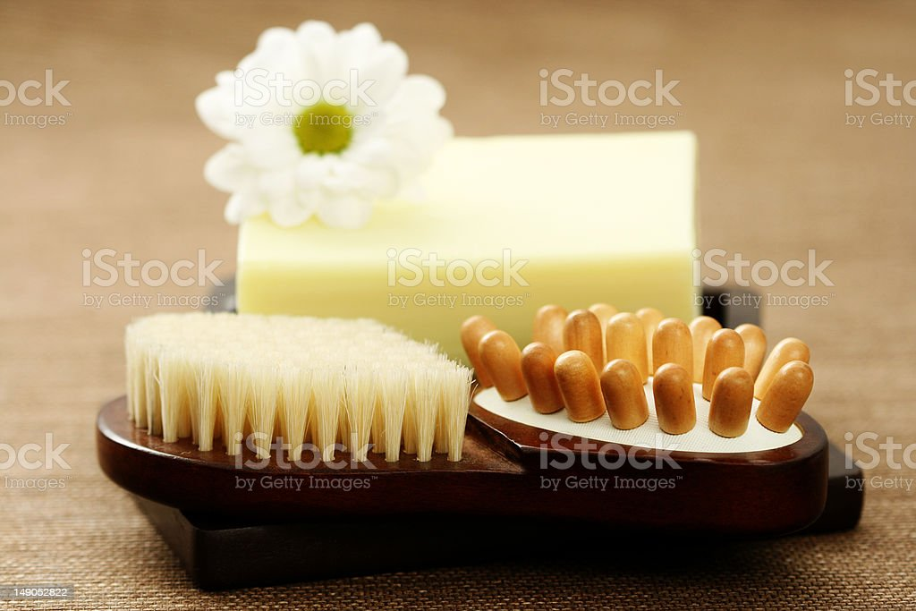 soap and massager royalty-free stock photo