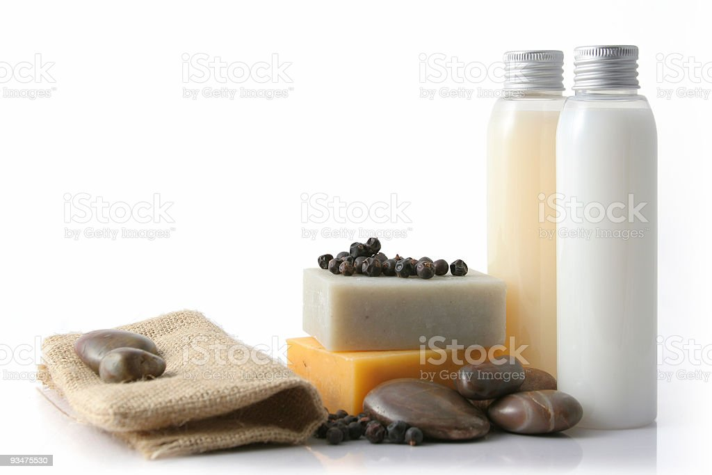 Soap and pebbles composition royalty-free stock photo