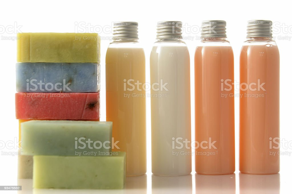 Soap bars and bottles royalty-free stock photo