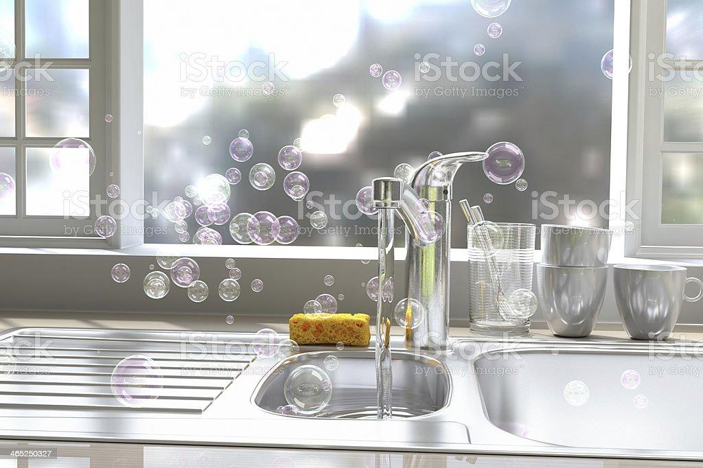 soap bubble and dish washing stock photo
