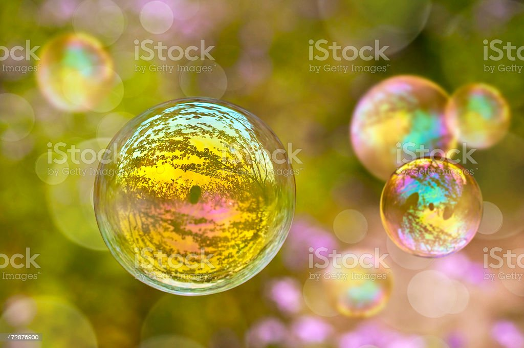 Soap bubble, green vegetal blurred  background stock photo