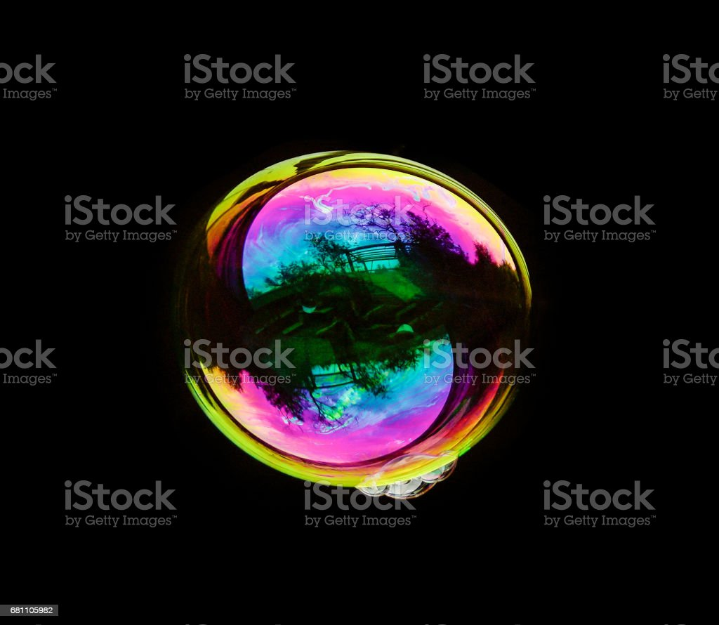 Soap Bubble On Black Background stock photo