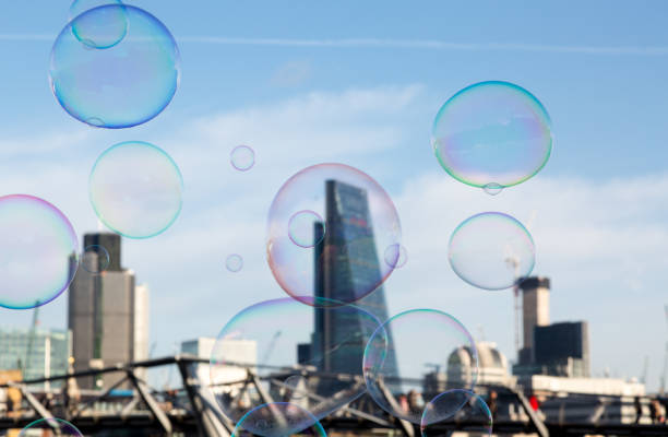 Soap bubble on City of London background stock photo