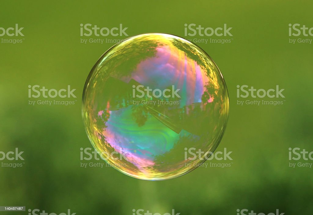Soap Bubble on green royalty-free stock photo