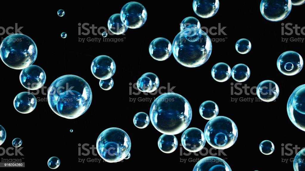 Soap Bubbles Black Background stock photo