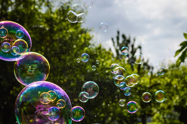 soap bubbles floating on green garden background stock photo