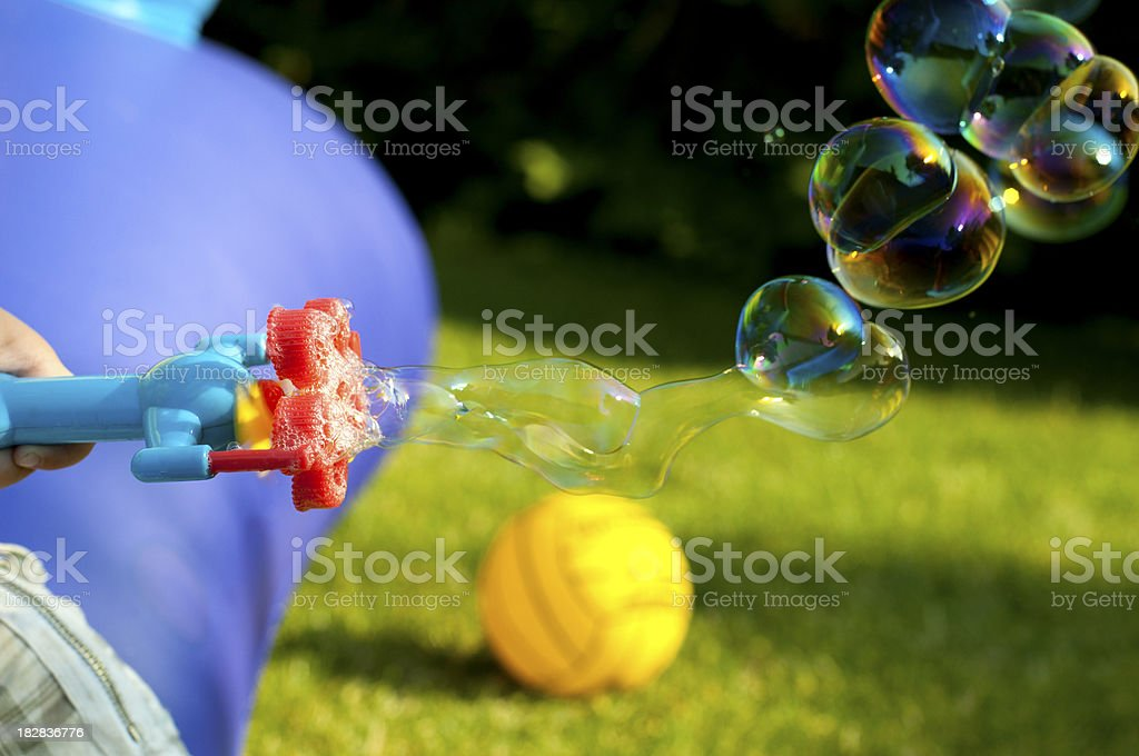 Soap bubbles fly in the air stock photo