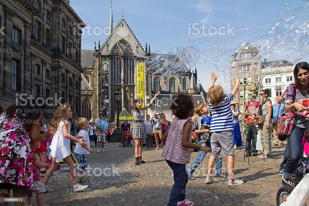 Soap bubbles in Amsterdam stock photo