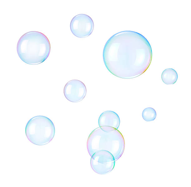 Soap bubbles on a white background stock photo