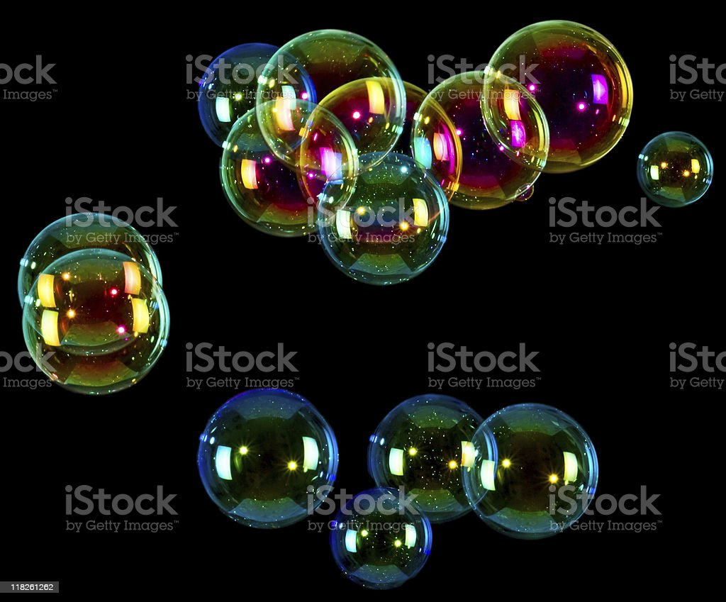 Soap bubbles on black background stock photo