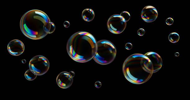 Soap Bubbles on black background stock photo
