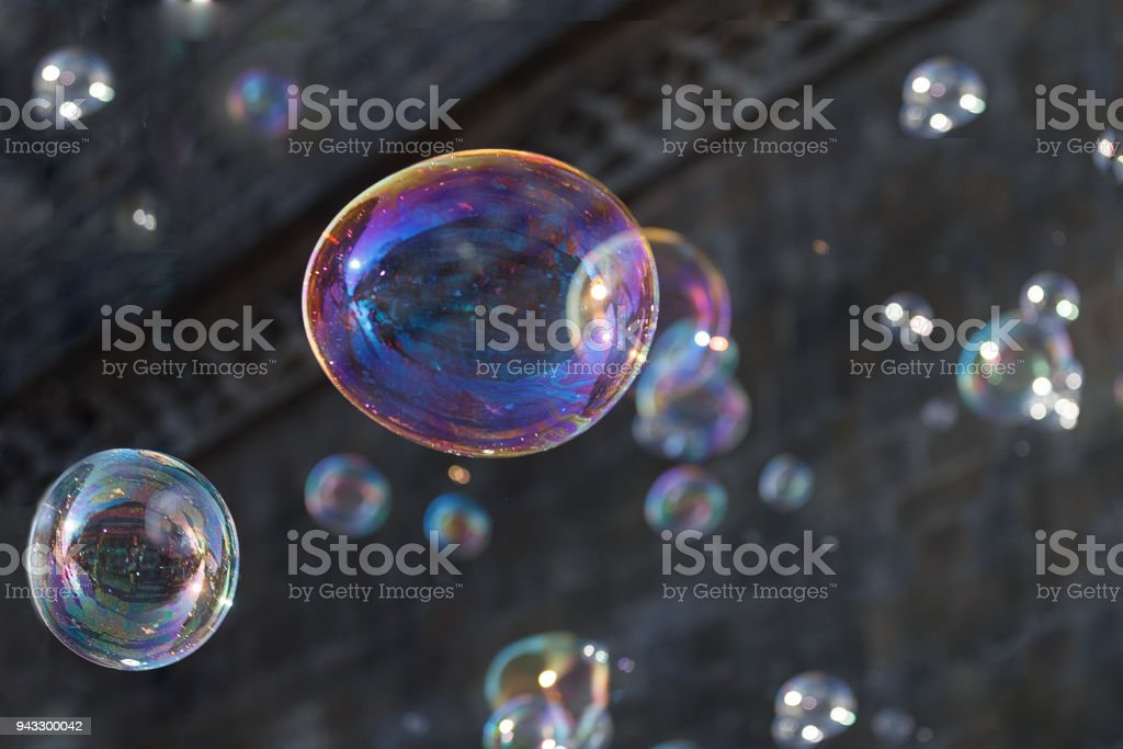 Soap bubbles  street background stock photo