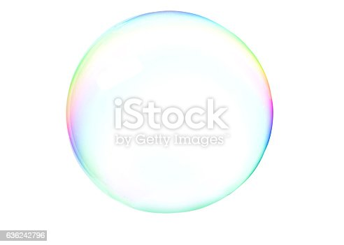 A colorful soap bubbles isolated over a white background