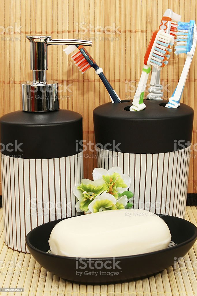 Soap dispensers and bar royalty-free stock photo