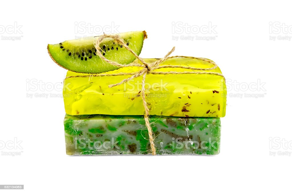 Soap Homemade With A Slice Of Kiwi Stock Photo - Download