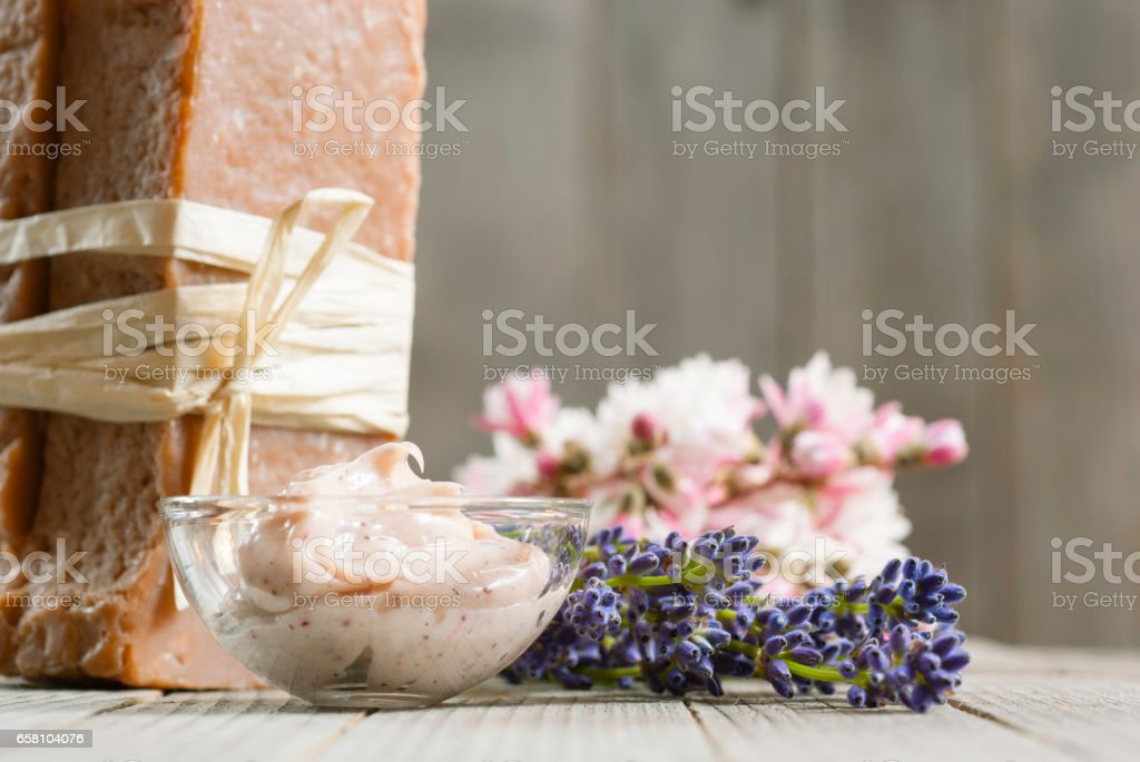 Soap, moisturizer and lavender royalty-free stock photo