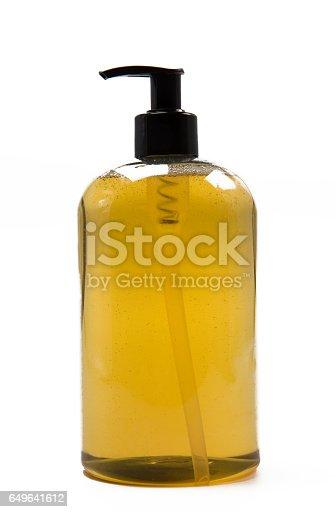 Soap dispencer on white background.