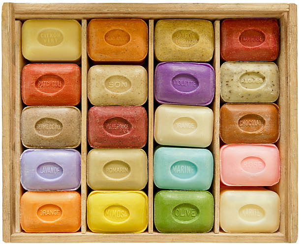 Soapbar collection in wooden box stock photo