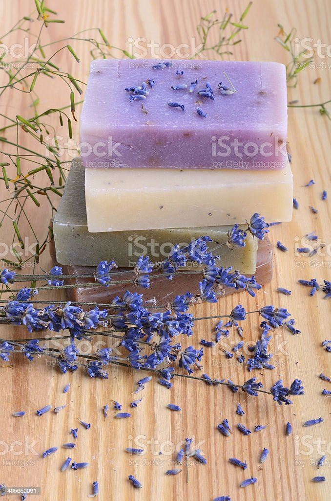 Soaps and lavender royalty-free stock photo