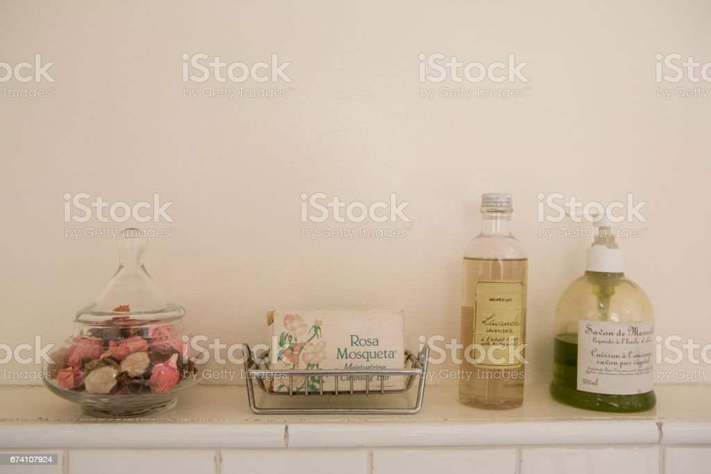 Soaps placed in the bathroom royalty-free stock photo