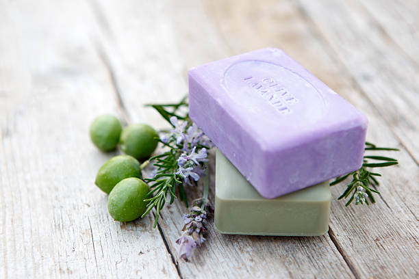 Soaps with herbs stock photo