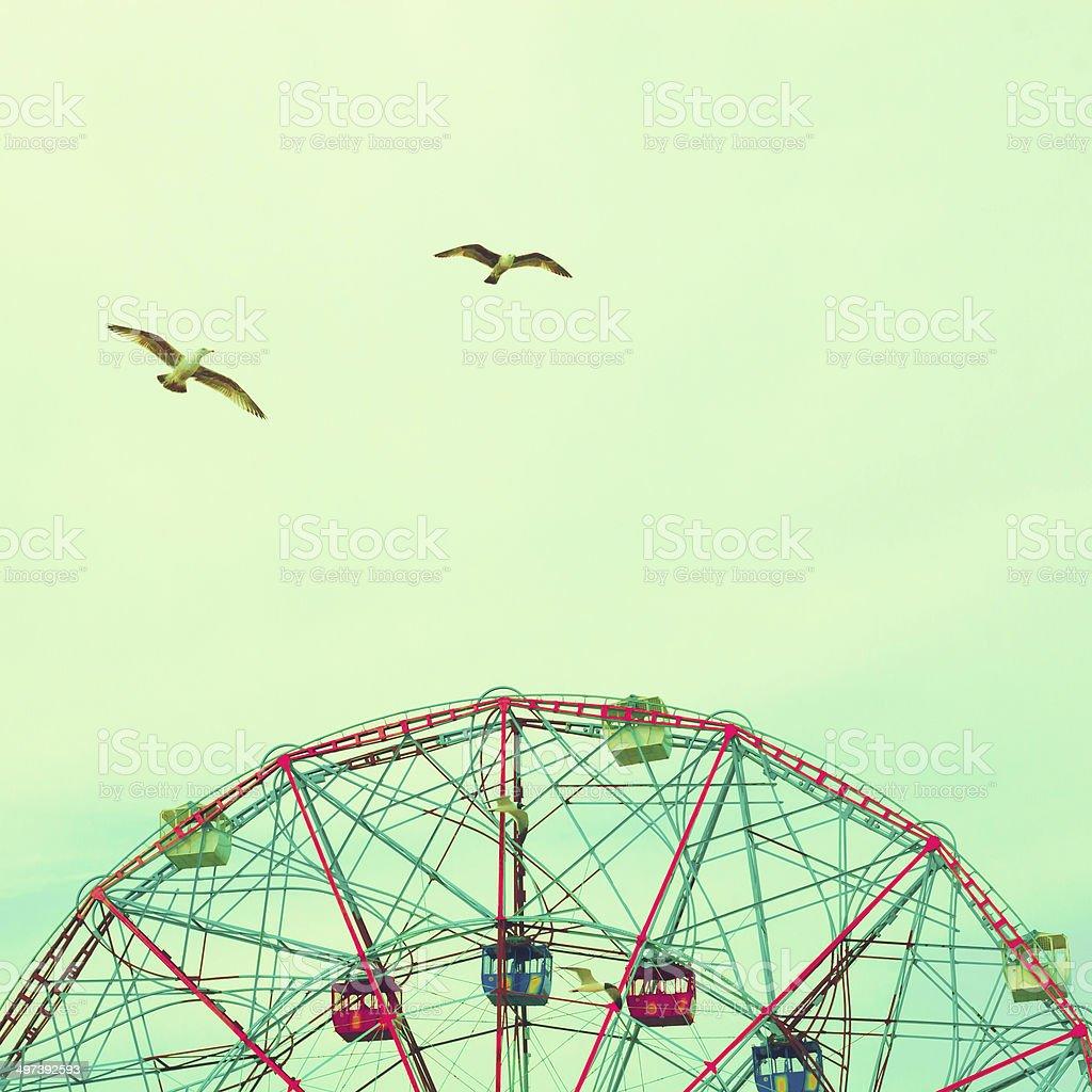 Soaring birds over pastel colored Ferris wheel stock photo