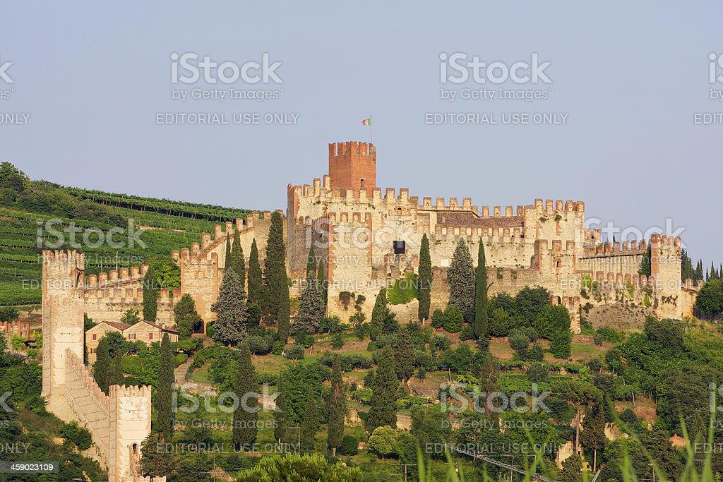 Soave Castle at sunset near to Verona (Italy) royalty-free stock photo