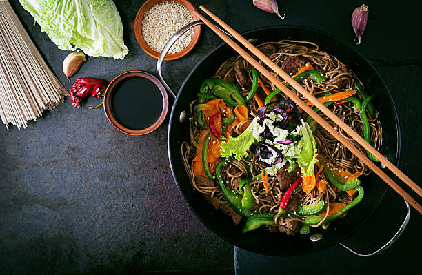 Soba noodles with beef, carrots, onions and sweet peppers stock photo