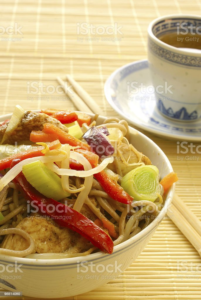 Soba noodles with chicken royalty-free stock photo