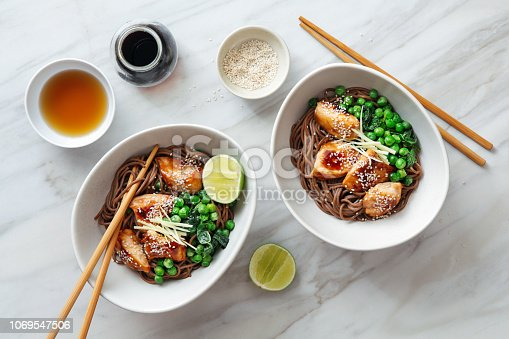 Soba with glazed chicken, sesame, green pea and sprouts