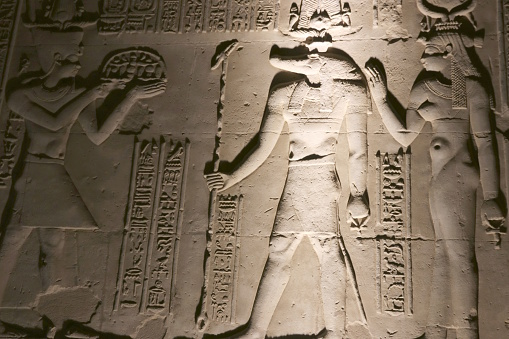 Sobek carvings at the Temple of Kom Ombo