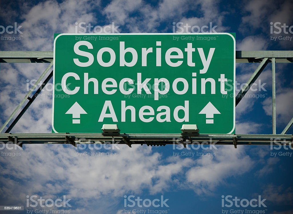 Sobriety Checkpoint Ahead stock photo