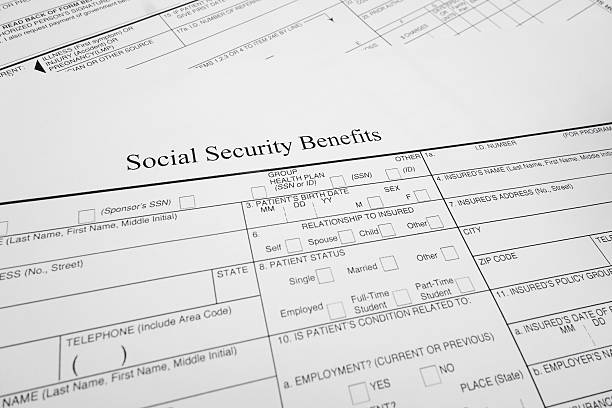 soc sec benefits - social security check stock photos and pictures