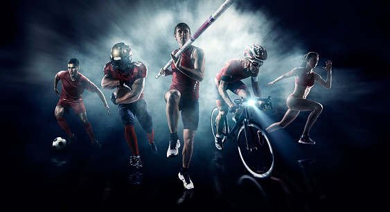 Soccer, American football, Pole vaulting, Cycle, Athletics sportsmen/women on a dramatic background